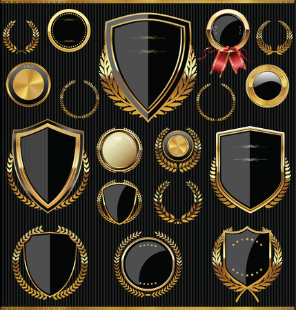 insignias: Colección escudos, laureles y medallas de oro