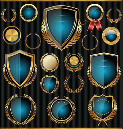 heraldic shield: Golden shields, laurels and medals collection