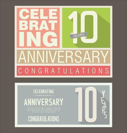 ten years jubilee: Anniversary retro background