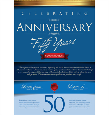 blue ribbon: Anniversary retro background, 50 years