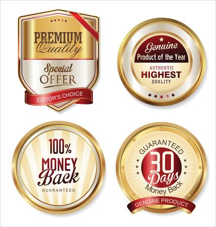 Premium kwaliteit gouden etiketten Stock Illustratie
