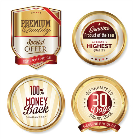 Premium quality golden labels Vector