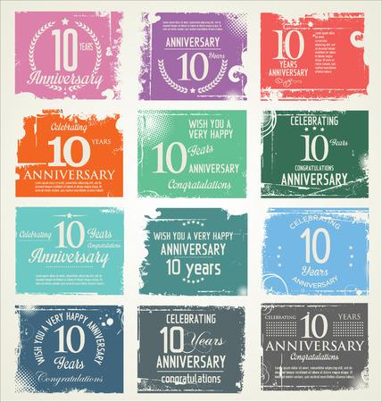 happy anniversary: Anniversary retro grunge banner collection