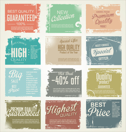 grunge border: Premium, quality retro vintage labels collection