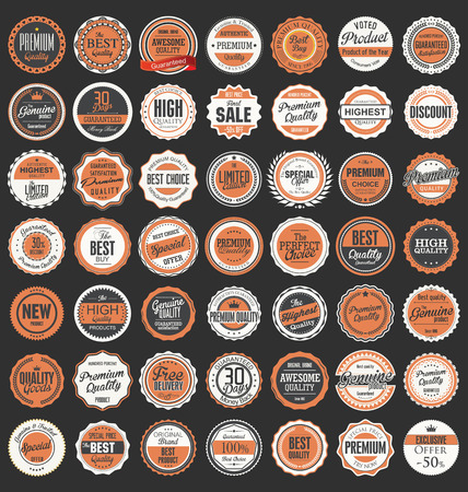 badge with ribbon: Premium, quality retro vintage labels collection