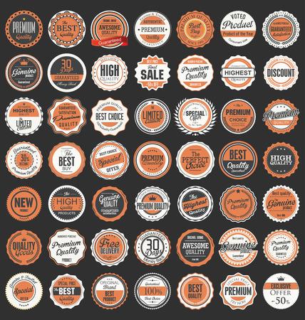 insignia: Premium, retro vintage etiquetas de calidad colección