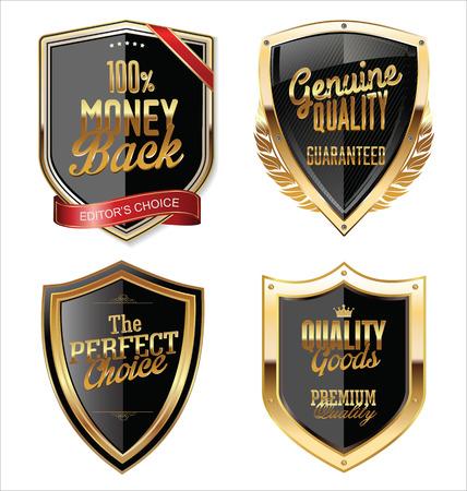 Premium Quality golden shields collection Vektoros illusztráció