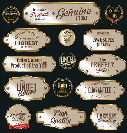 Metal plates premium quality golden collection Vettoriali