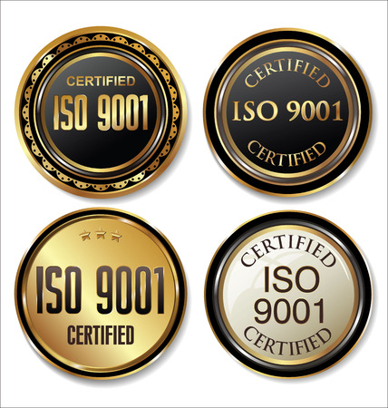 gold standard: ISO 9001 certified golden badge collection Illustration