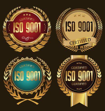 ISO 9001 certificada colección insignia de oro Ilustración de vector