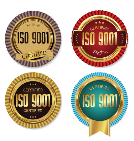 iso: ISO 9001 certified golden badge collection Illustration
