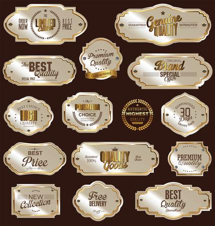 White gold framed labels