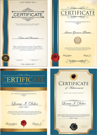 Blue certificate template collection
