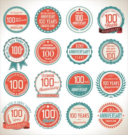 anniversaire: collection d'étiquettes anniversaire, 100 ans