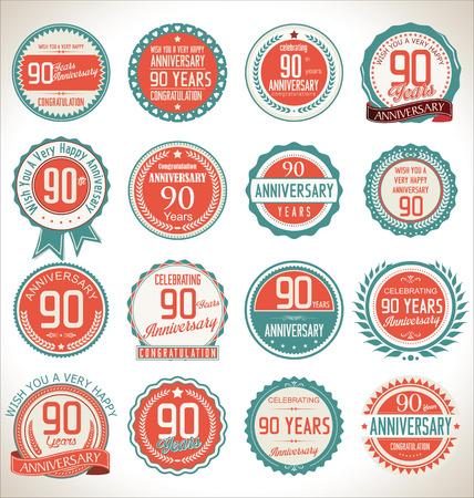 90 years: Raccolta etichetta Anniversario, 90 anni Vettoriali