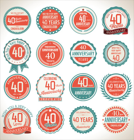 40th: Anniversary label collection, 40 years Illustration