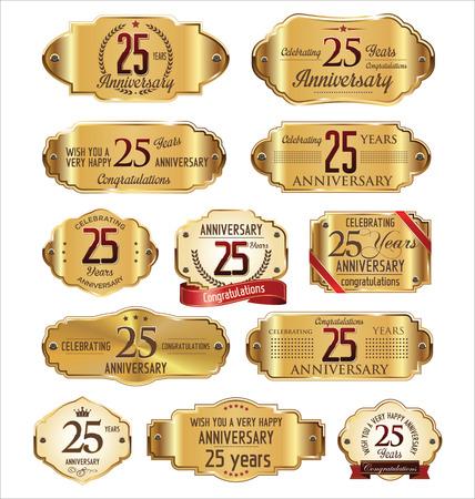 celebra: Colección de etiquetas de aniversario, 25 años Vectores