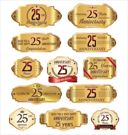 Anniversary label collection, 25 years Vettoriali