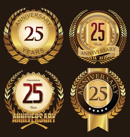 aniversario de bodas: Colección de etiquetas de aniversario, 25 años Vectores