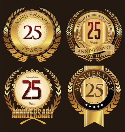 anniversaire: collection d'étiquettes anniversaire, 25 années