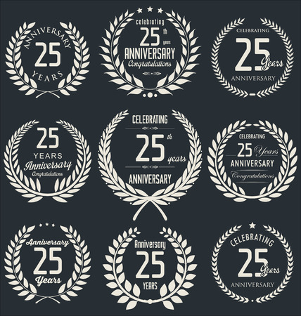 25 years old: Anniversary laurel wreath design, 25 years Illustration