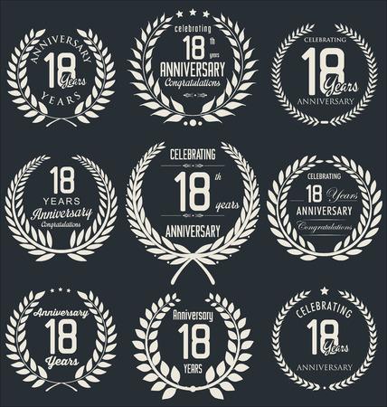 18 year old: Anniversary laurel wreath design, 18 years