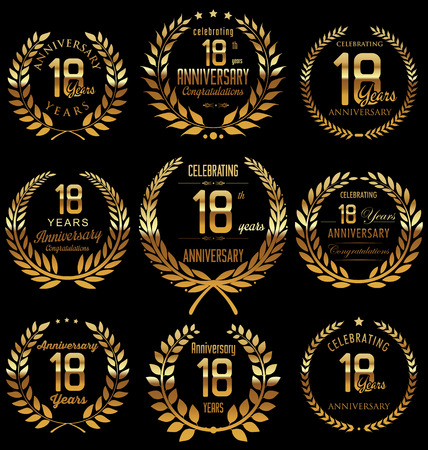 happy birthday 18: Anniversary golden laurel wreath design, 18 years