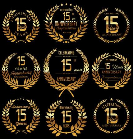 Anniversary golden laurel wreath design, 15 years