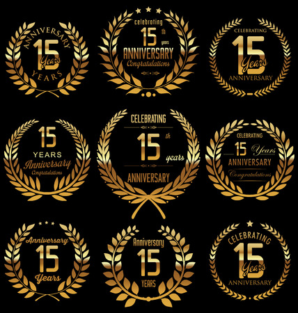 Anniversary golden laurel wreath design, 15 years
