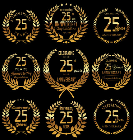 Anniversary golden laurel wreath design, 25 years Illustration