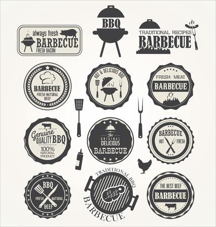 retro label: Barbecue retro badge collection