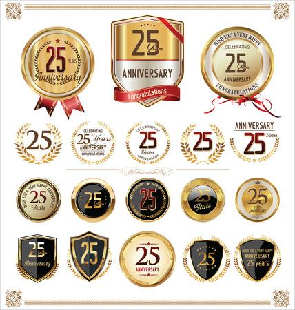 anniversaire: Anniversaire étiquette dorée 25 années