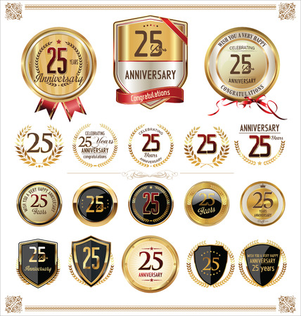 anniversary celebration: Anniversary golden label 25 years