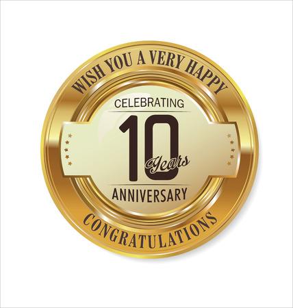letras de oro: La etiqueta de oro del aniversario de 10 años