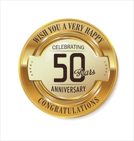 felicitaciones cumpleaÑos: La etiqueta de oro del aniversario de 50 años Vectores