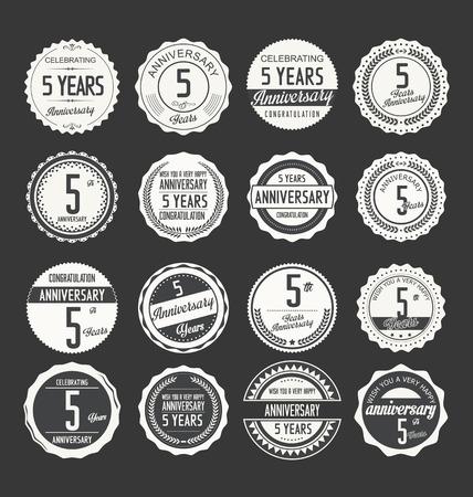 5th: Anniversary retro badges collection Illustration