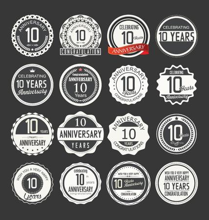 aniversario: Aniversario retro insignias colección