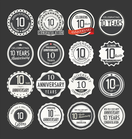 anniversary celebration: Anniversary retro badges collection Illustration