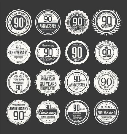 90 years: Anniversario label collection 90 anni Vettoriali