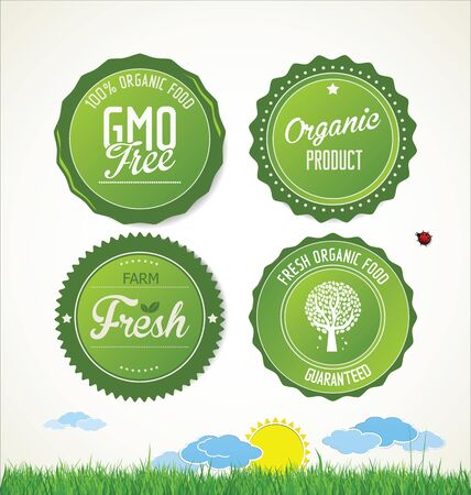 vector clip art: Set vector labels and emblems of ecology and environment Illustration