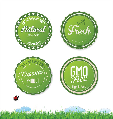 Set vector labels and emblems of ecology and environment Vector