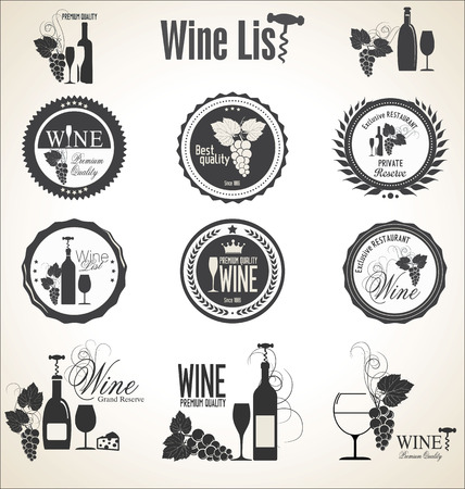 glass wine: Collection of wine badges and labels