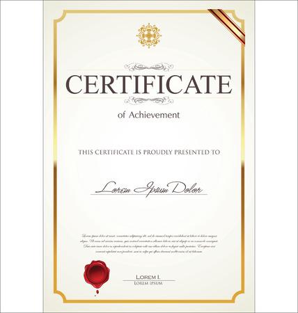 証明書または卒業証書のテンプレート  イラスト・ベクター素材