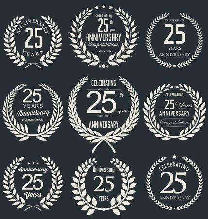 Anniversaire collection d'étiquettes de 25 ans Vecteurs