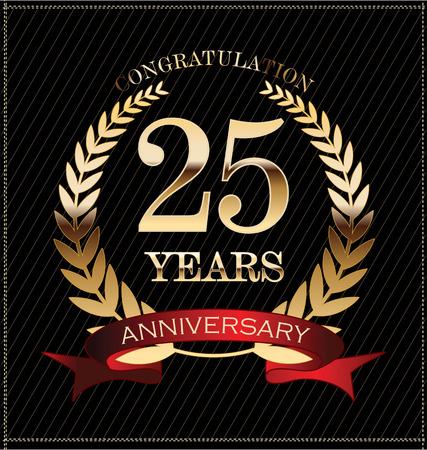 letras doradas: Etiqueta Aniversario 25 años