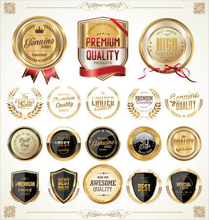 insignias: Etiquetas de oro colecci�n ilustraci�n