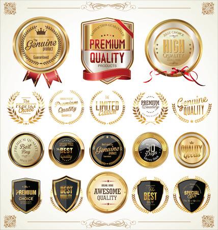 Golden labels collection illustration  Vector