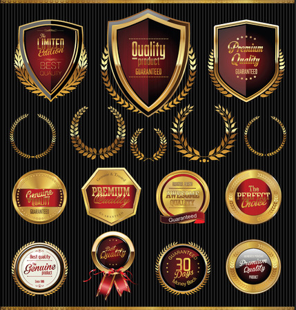 crest: Golden shields laurels and medals collection