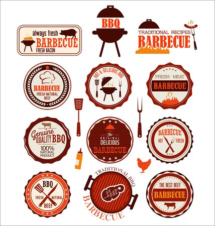 grill: Set of barbecue labels
