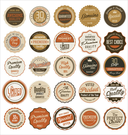 guarantee seal: Retro badges and labels collection